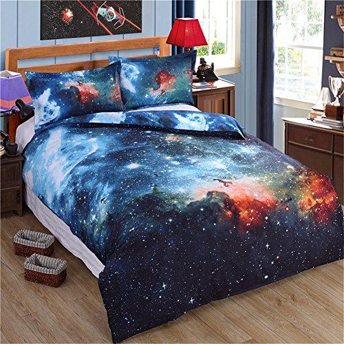 Shamdon 3-teilige Bettwäsche Set Universum Stil aus Polyster inkl.1x Bettbezug, 2xKissenbezüge,150x200 cm, 200x200 cm,220x240 cm (220x240 cm, Design 1)