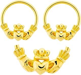 Pair of Gold Claddagh Hands & Heart Irish Friendship & Love Captive Bead Ring Lip, Belly, Nipple, Ear, Earring Hoop 12g