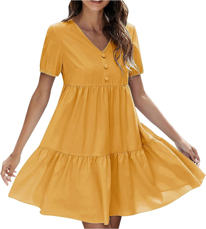 ESULOMP Womens Summer Short Dress Sexy V Neck Ruffle Short Sleeve Solid Button Swing Mini Dresses