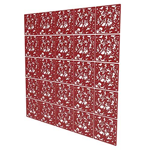Divisor Pared Paneles de 25 Piezas - 202x202cm - Rojo Separador Ambientes Oficina Pétalo Biombo Panel para Cocina, Despensa, Escritorio, Estantería, Armario