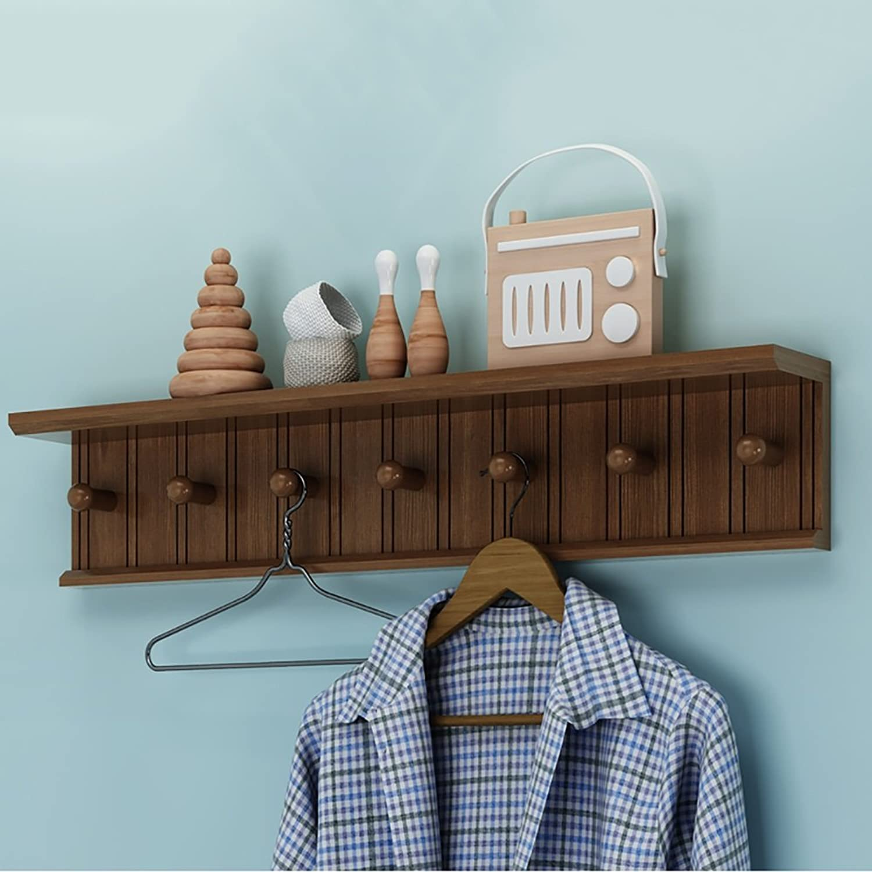 LFF- Wall Mounted Coat Rack Multi-Function Clothes Hanger Bedroom Living Room Solid Wood Creative Door Hook Hanger (color   White, Size   B)