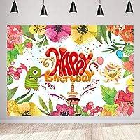 1歳の誕生日パーティーのための新しい小さなモンスターの背景250×180cm咲く色とりどりの花手描きの写真の背景キッズBdayパーティーの装飾用品写真撮影の小道具