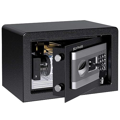 Coffre Fort de Securite Électronique   SLYPNOS Coffre-Fort Numérique   Serrure Électronique avec 4 Piles, 2 Clés pour Ouverture d'urgence, Électroaimant Antichoc, 31cm×20cm×20cm -Noir