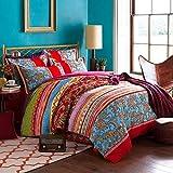 Lanqinglv Bohemian Bettwäsche 135x200 cm 4 Teilig Rot Blau Boho Indischen Mandala Böhmisch Wendebettwäsche Set Bunt Vintage Bettbezüge mit Reißverschluss und Kissenbezug 80x80cm (QCHX,4TLG)