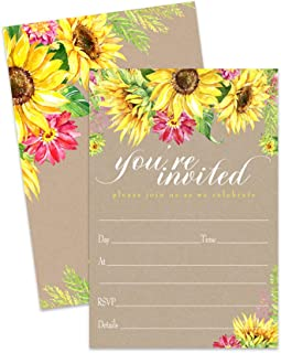 Sunflower Invitations and Envelopes (15 Pack) Baby Shower, Party, Wedding, Any Occasion