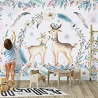 カスタム壁画手描きモダンパーソナリティかわいい動物エルク子供部屋の背景パペルデパレードキッズルームの3D壁紙, 250cm×175cm