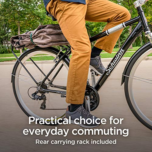 Schwinn Discover Hybrid Bikes for Men and Women, Featuring Aluminum City Frame, 21-Speed Drivetrain, Black and White