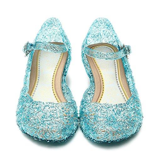 Katara - Princess Frozen - Sandales à talons compensés - Fille, Bleu, 28 EU (CN 30)