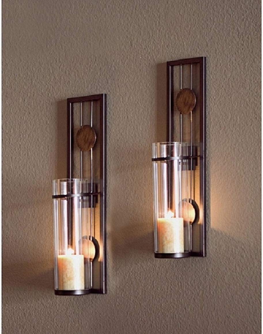 Candle Wall Sconce Set Of 2 And Classic Pillar Real Flame Effect Flameless Led Candles Set 6 X 2 15 With Remote And Timer Feature White Color With Set Of 2 Metal