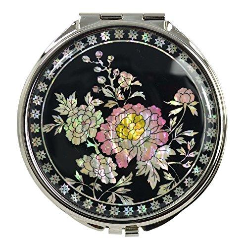 Petit miroir de poche rond, décors de nacre naturelle, design fleurs de pivoine. Accessoire de maquillage vintage