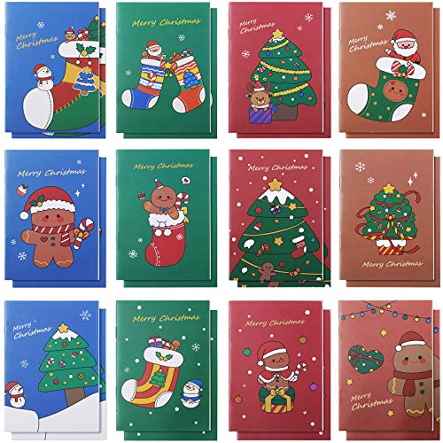 24 Pieces Christmas Themed Memo Pads Fun Christmas Notebooks Steno Journals Notepads for Kids Party Christmas Celebration Present Bag Stuffers Party Favors