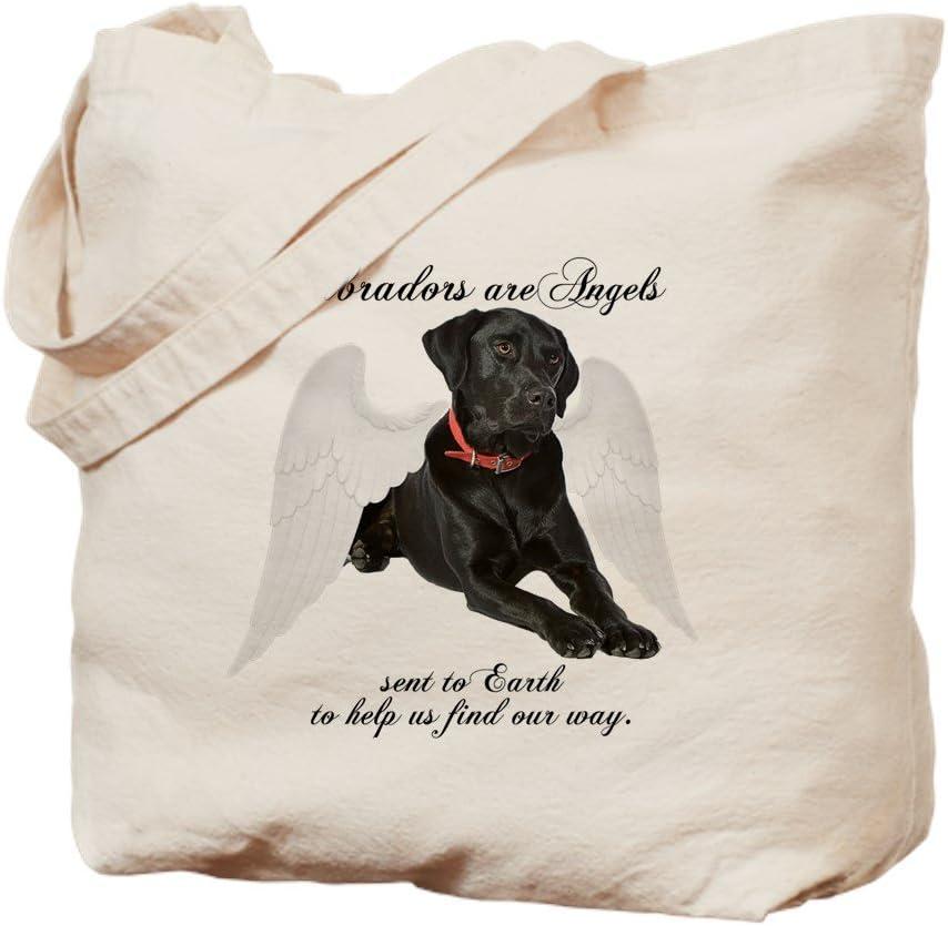 CafePress Black Lab Angel Tote Bag Natural Canvas Tote Bag, Reusable Shopping Bag