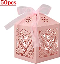 Lucky Monet 25/50/100PCS Love Heart Laser Cut Wedding Candy Gift Box Chocolate Box for Wedding Favor Birthday Party Bridal Shower with Ribbon (50pcs, Pink)