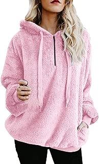 Sweatshirt for Womens,Pullover Sweaters,Hooded Oversize Coat Winter Warm Wool Zipper Pockets Cotton Coat Outwear