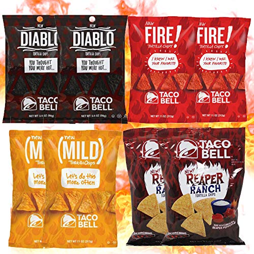 Taco Bell Tortilla Chips Variety Pack. 2 Bags of Each Flavor, Reaper Ranch, Diablo, Fire and Mild.