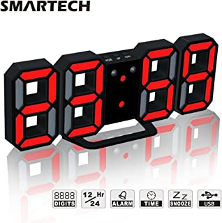 SMARTECH 3D LED Digital Alarm Clock Easy to Read at Night, Silent Clock with Snooze, 3 Brightness Levels, Modern Desk Shelf Table Wall Alarm Clock for Travel Kids Bedroom Heavy Sleepers
