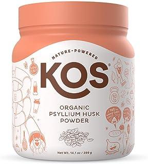 KOS Organic Psyllium Husk Powder - Non GMO, Gluten Free, Vegan, Keto Friendly - Dietary Soluble Fiber Supplement, 14.1 oz,...