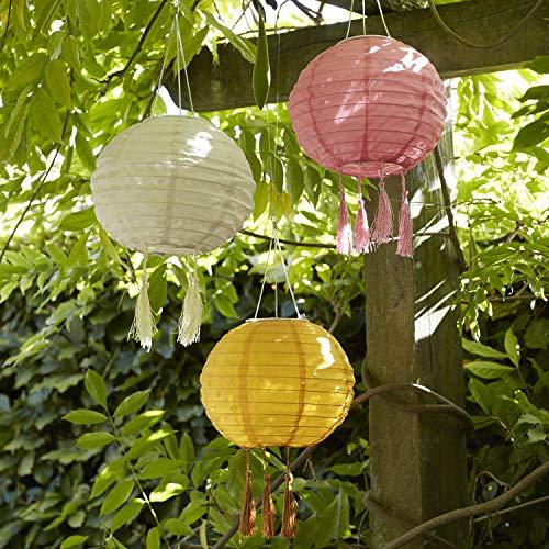 Lights4fun 3er Set Solar Lampions in Rosa Creme & Senf 20cm