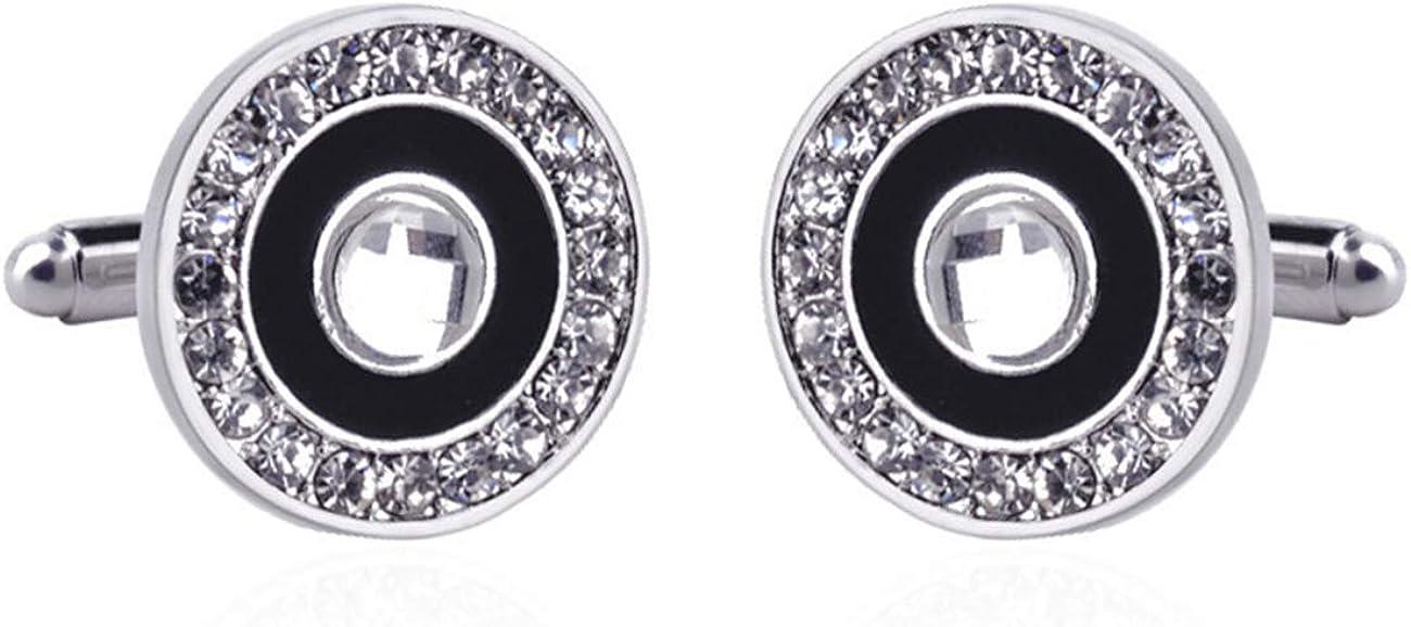 GH8 Mens Classic Stainless Steel Cufflinks Cufflinks Business Wedding Shirts - Rhinestone PXH07#