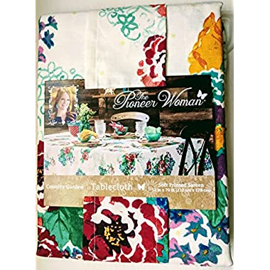 The Pioneer Woman Tablecloth Check Floral Kitchen Linens (52 x70  Tablecloth, Country Garden Floral)