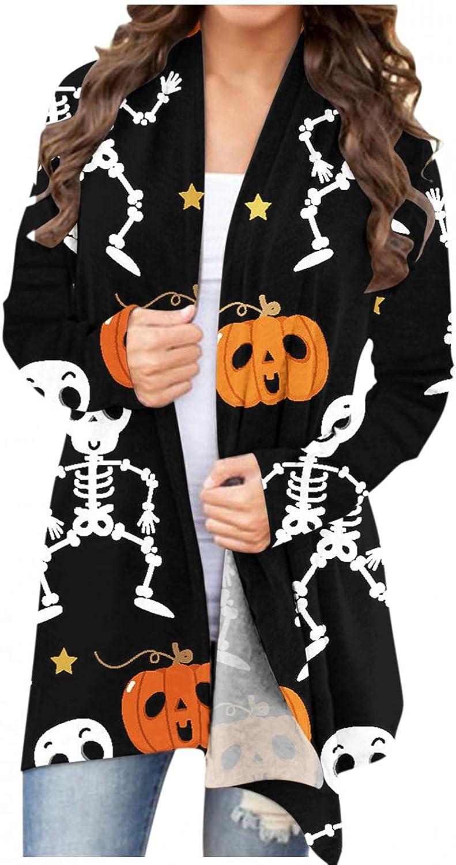 Masbird Halloween Cardigan for Women, Womens Cute Open Front Pumpkin Ghost Printed Tops Long Sleeve Lightweight Coat