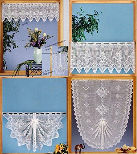 Gardine Scheibengardine Landhaus Karo Jacquard für Flügelfenster geeignt in weiß Shabby Chic - Deko Variation...