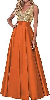 d74d362dbb0 Women s Sequin Rose Gold Prom Dresses Long V-Neck Backless Bridesmaid  Dresses Formal Evening Ball