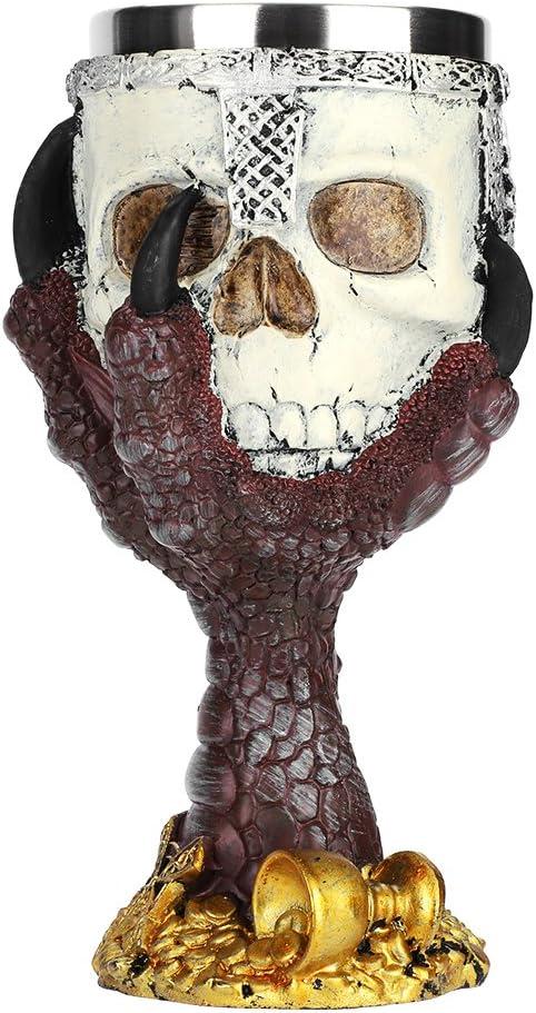 GARNECK Halloween Wine Goblet Resin Skull Wine Cups Stainless Steel Insert Stemware Skeleton Head Chalice Drinkware Serveware for Red Wine Champagne Whiskey Haunted House Party Favors