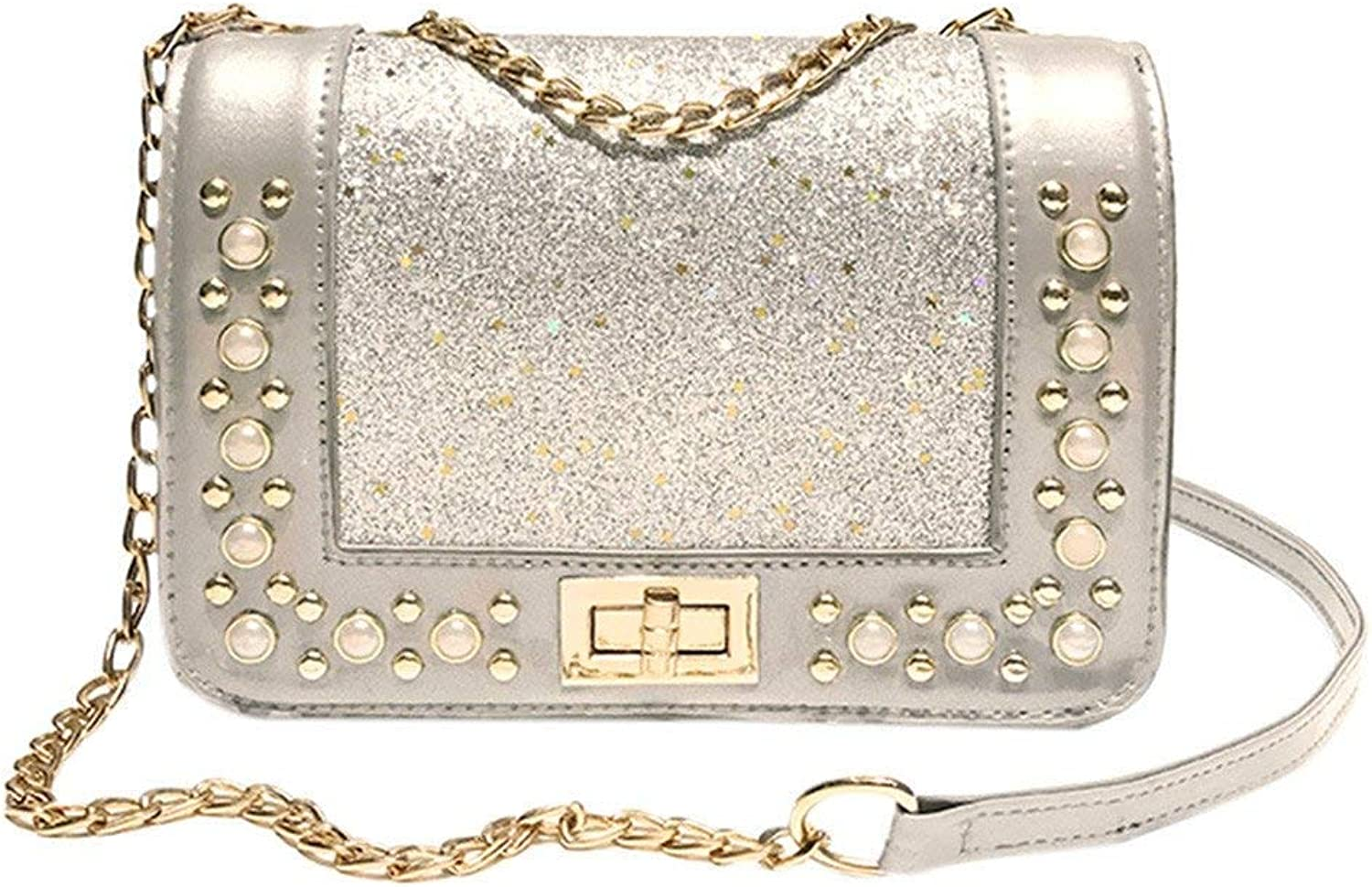 Bloomerang Fashion Women Sequins Leather Crossbody Bag Coin Bag Phone Bag Shoulderag Women's Handbags Totes Shoulder Bags bolsos muj 75 color Silver Mini(Max Length 20cm)
