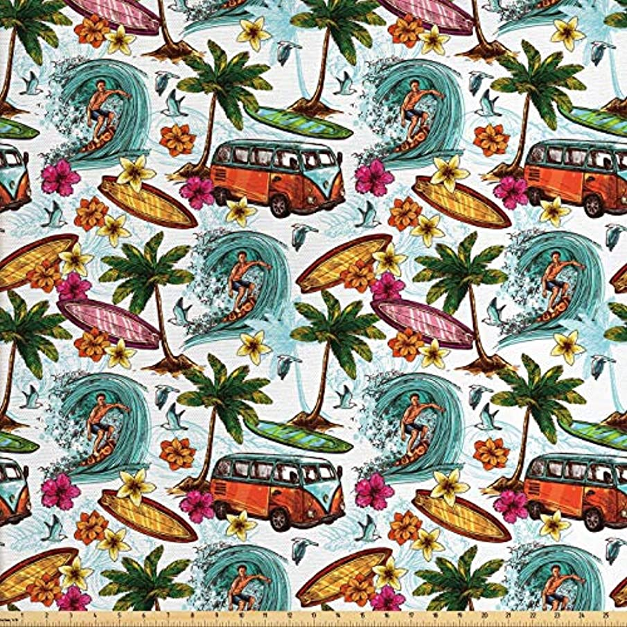 Ambesonne Ocean Fabric by The Yard, Hawaiian Surfer on Wavy Deep Sea Retro Style Palm Trees Flowers Surf Boards Print, Decorative Fabric for Upholstery and Home Accents, 3 Yards, Multicolor