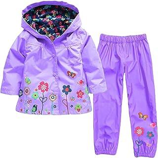 LvRao Dziecięca kurtka przeciwdeszczowa z kapturem, spodnie przeciwdeszczowe, 2-częściowy zestaw odzieży, nadruk zwierzęc...