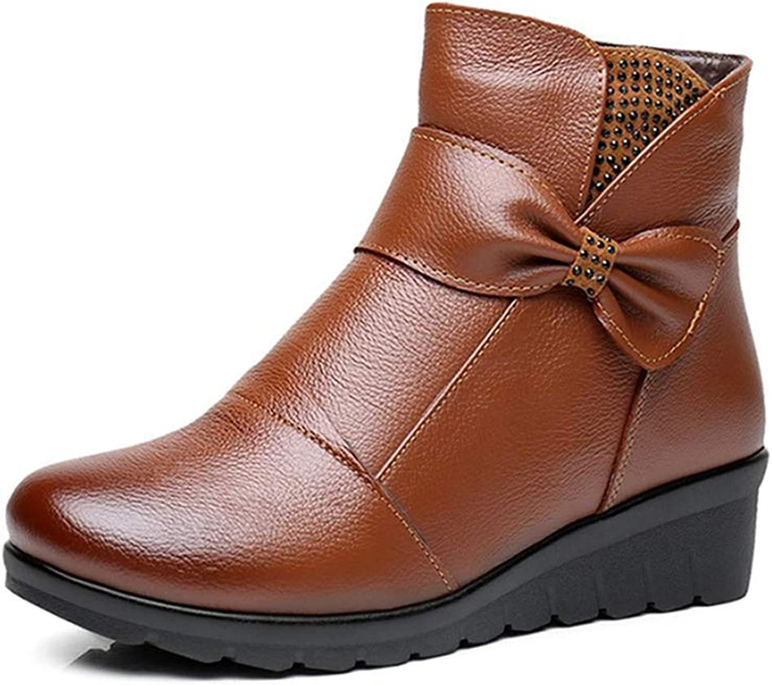 Fay Waters Women's Genuine Leather Zip Snow Boots Plush Lined Warm Ankle High Winter shoes