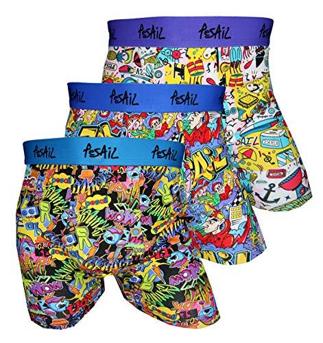 Pesail Boxershorts mit Comic Motiven 4er Pack, Größe XX-Large (2XL), Farbe je 1x schwarz, blau, Weiss