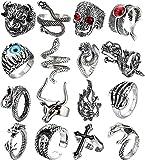 Adramata 16 Piezas De Anillos Punk Vintage para Hombres, Mujeres, Gótico, Dragón, Lobo, Garra, Pulpo, Pez, Lagarto, Serpiente, Calavera, Anillos Abiertos, Ajustables, Punk, Conjunto De Joyas