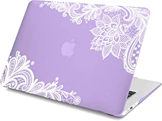 """Batianda AIR 13-inch Lace Rubberized Hard Case for MacBook Air 13.3"""" (A1466 & A1369) (Not Compatible with 2018 Newest Version Model:A1932) Shell Cover - Violet"""