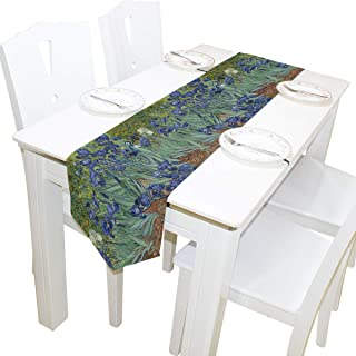 AUUXVA 13x70 inches Long Table Runner Watercolor Van Gogh Iris Flower Decorative Polyester Table Runners Tablelcoth for Home Coffee Kitchen Dining Table Party Banquet Holiday Decoration