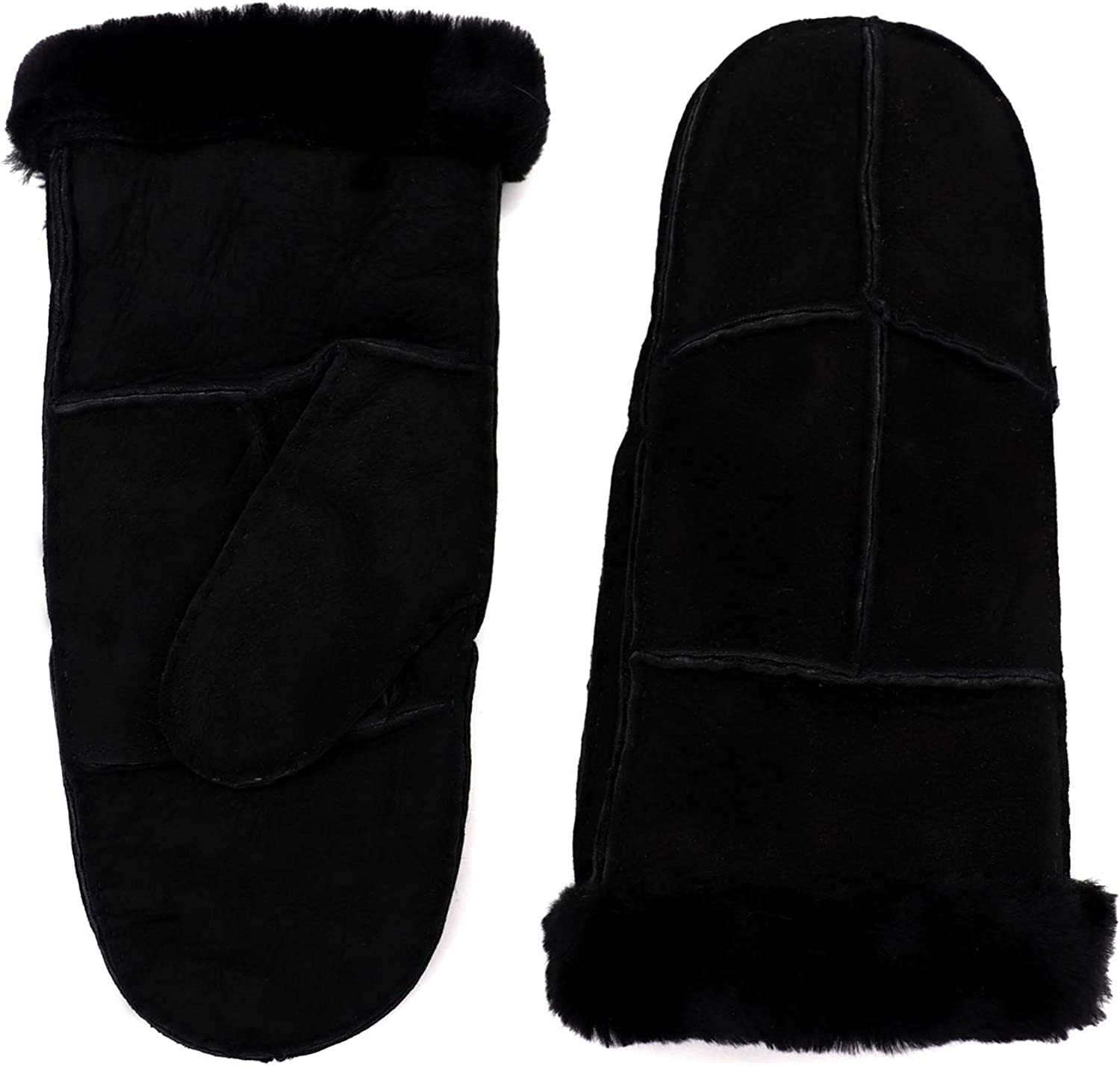 Surell Women's Sheepskin Shearling Mittens - Winter Gloves - Cold Weather Clothing (Black, Large)