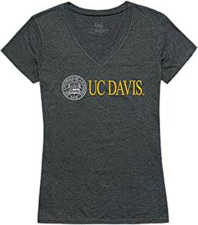 UCD UC Davis University of California, Davis NCAA Women's Institutional V Neck Tee t Shirt