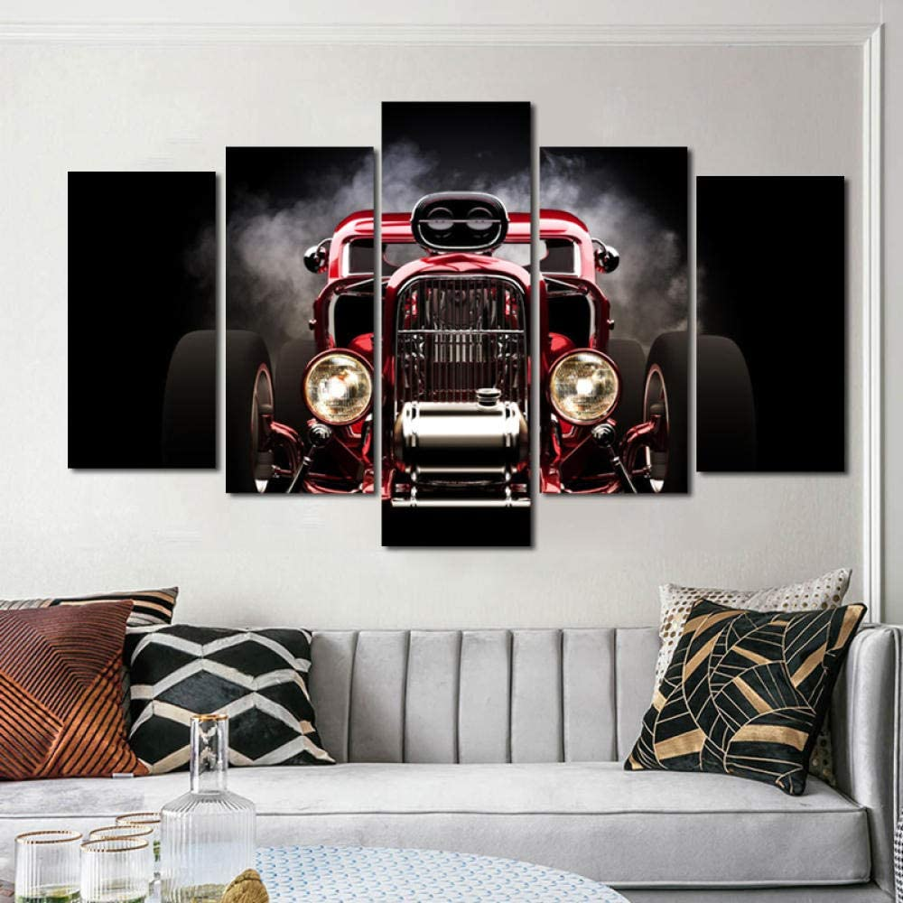 Red Car Wall Art Pictures Ar 5 Panels Canvas Poster SEAL limited product Bargain sale