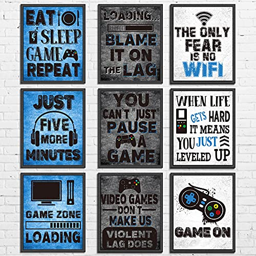 9 Pieces Video Game Themed Wall Art Print Poster, Game Themed Art Sign Print Room Wall Decoration...