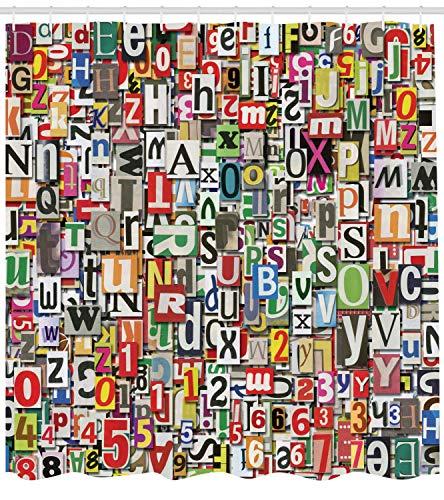Cortina de Ducha Impermeable y Resistente al Moho Collage Hecho de Espadas Recortes Alfabetos Recortes Diversidad Letra Imagen 180x180cm
