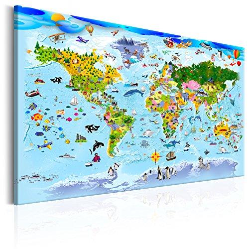 murando - Bilder Weltkarte für Kinder 120x80 cm Vlies Leinwandbild 1 TLG Kunstdruck modern Wandbilder XXL Wanddekoration Design Wand Bild - Weltkarte blau Tiere e-A-0101-b-a
