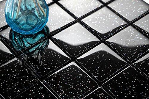 Foglio di piastrelle con motivo a mosaico, in vetro, colore: nero, arcobaleno, brillantinato (Midnight Black Rainbow Glitter) (MT0088)