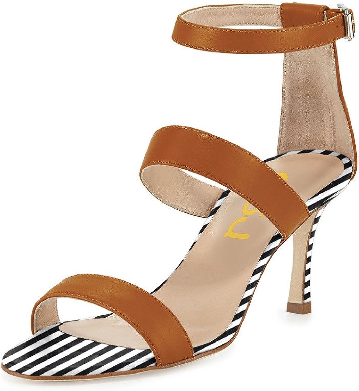 FSJ Women Straps High Heel Sandals Open Toe Ankle Buckle Sandals Size 15 Sienna