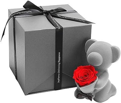 人工花ローズベア多色プラスチック泡ローズフラワーテディベアバレンタインデーギフト誕生日パーティー春装飾、愛を示す
