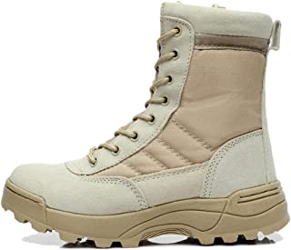 Mens Leather Military Army Combat Walking Hiking Non Safety Work Ankle Boots Delta Breathable Armed Forces Shoes Large Size 36-46