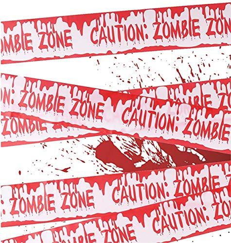 TK Gruppe Timo Klingler 1x Absperrband blutig Absperrung Band 6,1 Meter als Dekoration Deko an Halloween Halloweendeko Party  Caution Zombie Zone