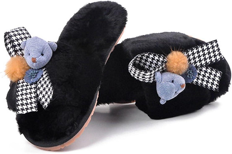 T-JULY Women's Plush Slippers Women's Autumn and Winter Sandals Little Bear's Ball Against Sliding