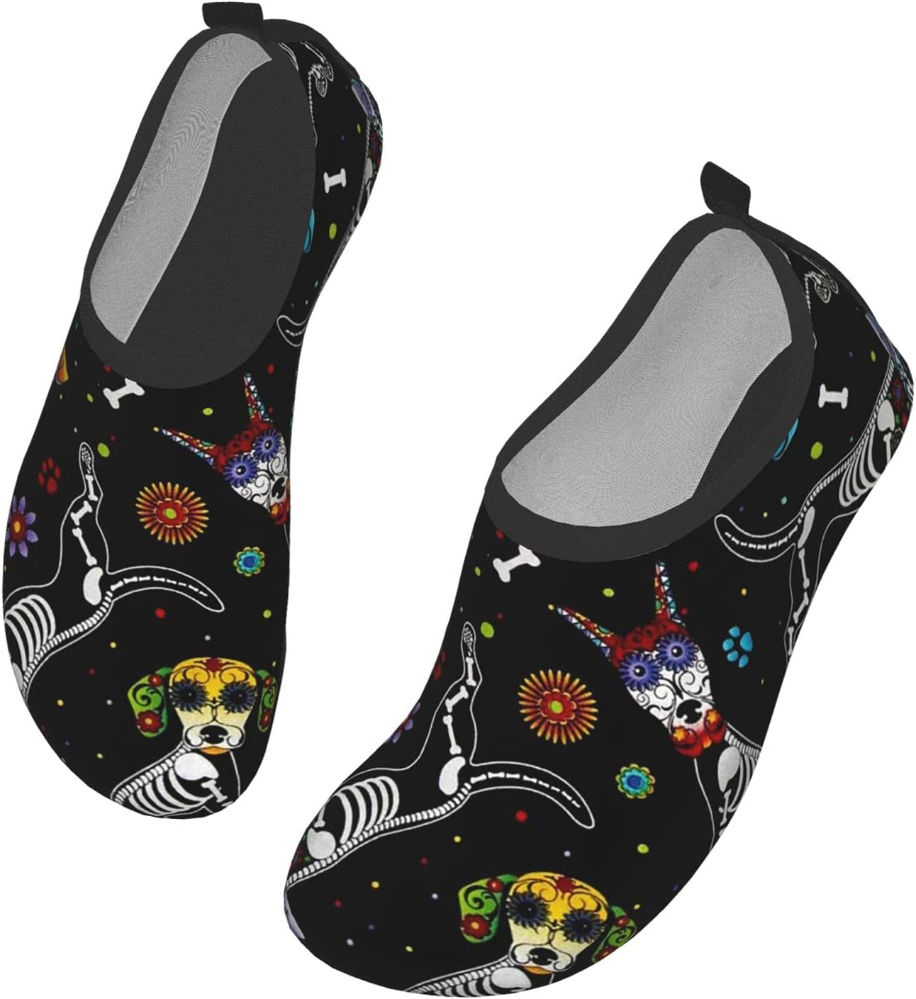 Womens Mens Summer Water Shoes Dogs Skeleton Sugar Skulls Barefoot Shoe Quick Dry Aqua Socks