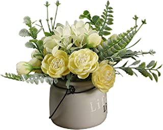 AUSTARK Artificial Flowers with Vase, Fake Silk Flowers with Pot, Realistic Hydrangea Flower Table Decorative Arrangements...